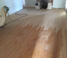 Weave-in repair of red oak wood flooring in project home