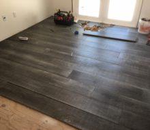 Beachy look White Oak flooring being installed