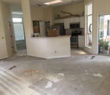 Bare concrete subfloor - carpet removed
