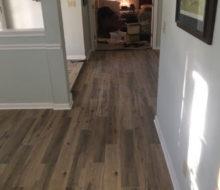 Hickory wood look floor tile installed