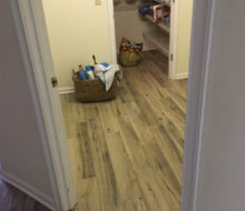 Hickory wood look floor tile installed