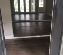 Installed elevated stepped birch wood flooring