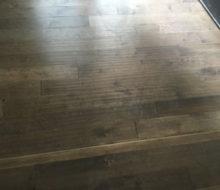 Installed hand scraped engineered birch flooring