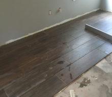 Installing wood look floor tile