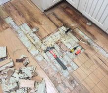 Removing damaged hickory flooring