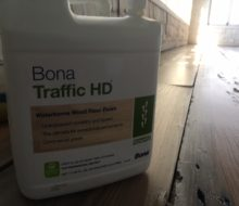 Bona Traffic HD finish container on whitewashed, reclaimed Heart Pine floor