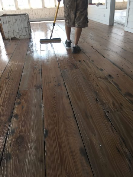 Reclaimed Heart Pine Plank Flooring Sealing Finishing St