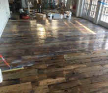 Finishing varied length and width reclaimed heart pine flooring