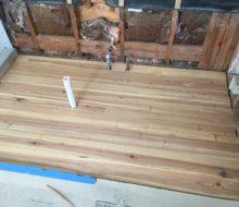 Heart Pine plank flooring installed