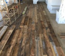 Installing various length and width reclaimed heart pine flooring
