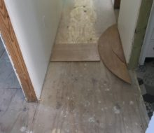 New plywood subfloor installed, prep for wood flooring installation
