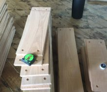 Red oak planks ready for walnut pegs