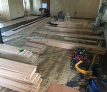 Red oak planks ready for walnut pegs