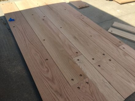 Red Oak Plank Flooring With Walnut Pegs