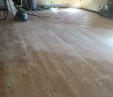 Sanding solid red oak plank, walnut pegged floor