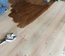Staining solid Red Oak plank flooring with walnut pegs