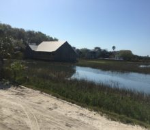 View of marsh outside Saltwater Cowboys BBQ & Seafood restaurant - St. Augustine, Florida.