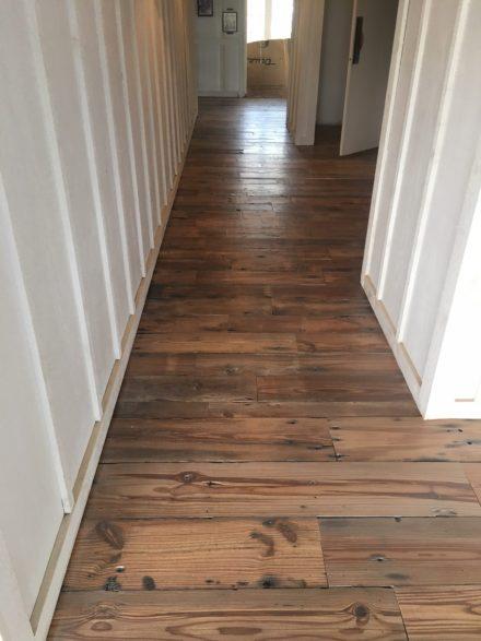 Reclaimed heart pine plank flooring sealing finishing for Flooring st augustine