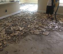 Floor tiles removed