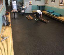 Preparing to install vinyl plank flooring in Manatee Cafe