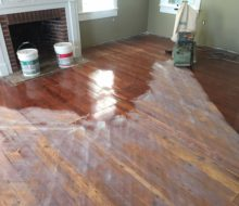 Sanding water damaged old heart pine plank flooring