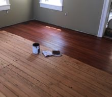Staining old heart pine plank flooring