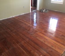Water damaged old heart pine plank flooring