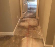 Chalk line on leveled subfloor for wood flooring