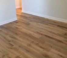 Wire brushed white oak flooring installed