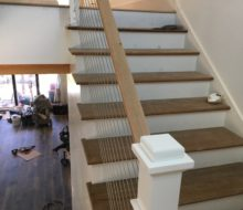 Sanded and stained to match White Oak stair treads