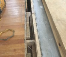 Red Oak header board will cover expansion joint between main home and the addition.