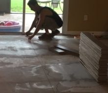 Installing white oak flooring over leveled subfloor