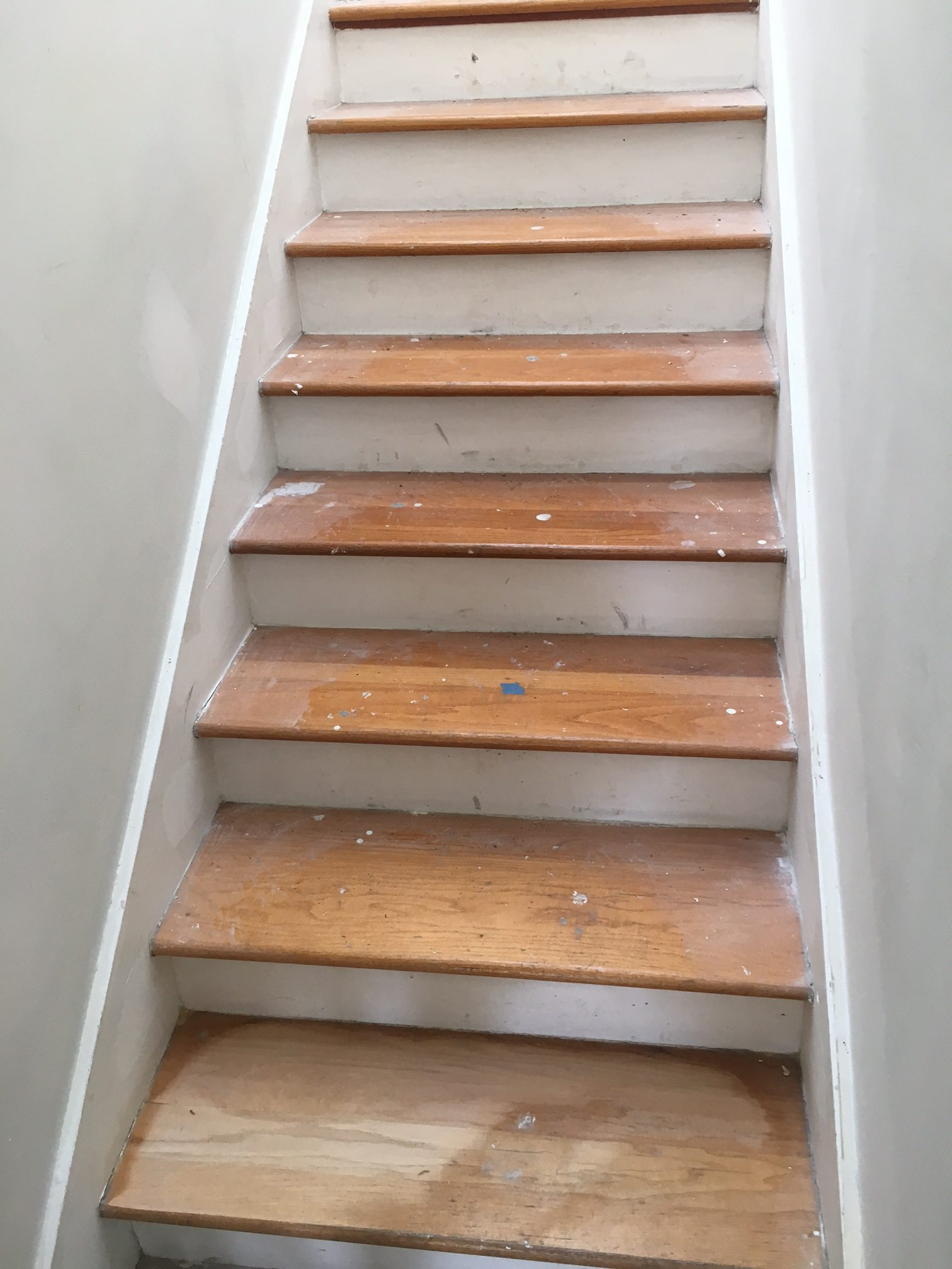 After Seeing The Tile Flooring And Their Stair Treads, We Recommended  Refinishing The Red Oak Stair Treads To Simulate Their Wood Look Floor  Tiles.