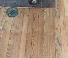 Sanding water damaged old heart pine flooring