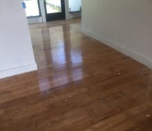 Water damaged hickory flooring with slight cupping