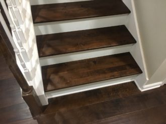 Installed Hardwood Maple Flooring And Matching Solid Maple Stair Treads