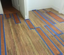 Weave-in repairs to water damaged old pine wood floors