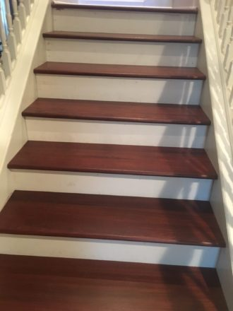 Staircase With Wood Flooring Installation