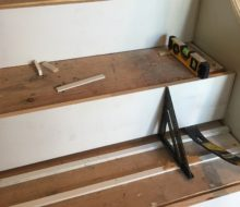 Preparing staircase to install Brazilian Cherry stair treads