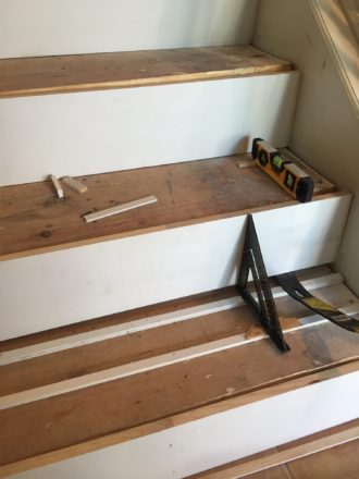 Preparing Staircase To Install Brazilian Cherry Stair Treads Hardwood