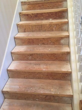 For This Brazilian Cherry Staircase, Our Danu0027s Floor Store Crew Sanded,  Stained, And Finished 17 New Brazilian Cherry Stair Treads And One Landing  To Blend ...