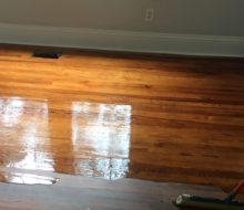 Applying finish to sanded old Heart Pine flooring