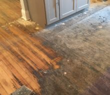 Starting to sand old Heart Pine flooring