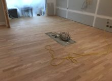 Sanded peeled Red Oak floor with weave-in repair