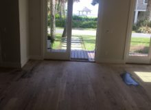 Sanded red oak flooring