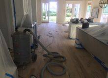 Sanded and scraped red oak flooring