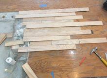Weave-in wood floor repair