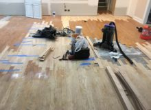 Weave-in wood floor repair