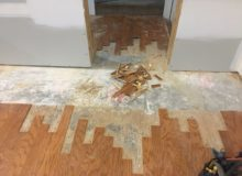 Weave-in wood floor repair preparations