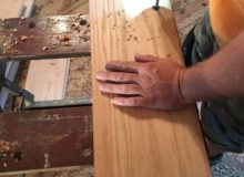 Drilling holes for walnut pegs in red oak flooring
